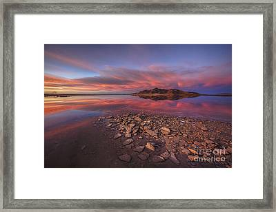 Sunset At A Favorite Spot On The Great Salt Lake Framed Print