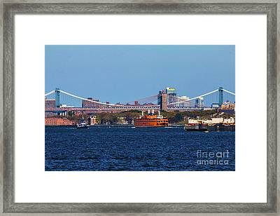 Stanton Island Ferry In Front Of The Brooklyn Bridge Framed Print by William Rogers