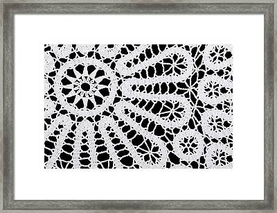 Star And Circles In A White Crocheted Doily Framed Print