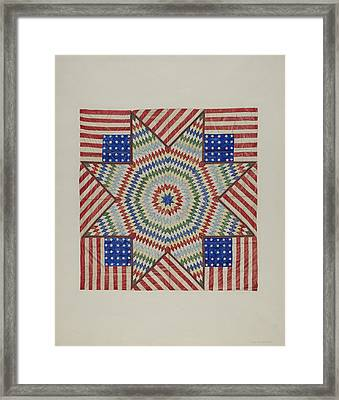 Star And Flag Design Quilt Framed Print by Fred Hassebrock