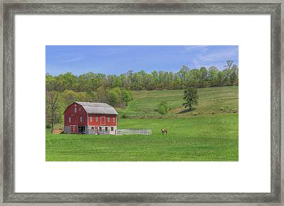 Framed Print featuring the digital art Star And Moon Barn by Sharon Batdorf