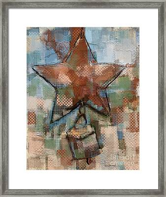 Framed Print featuring the mixed media Star Bell by Carrie Joy Byrnes