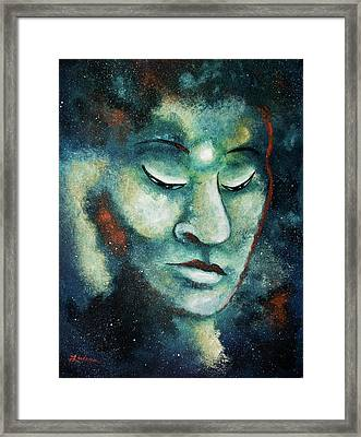 Star Buddha Of Teal Tranquility Framed Print by Laura Iverson