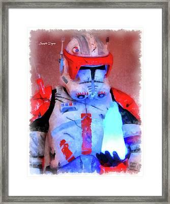 Star Commander Cody Order 66 - Aquarell Style Framed Print by Leonardo Digenio