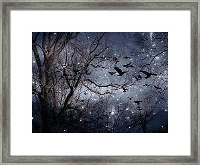 Starlit Crows In Flight Framed Print