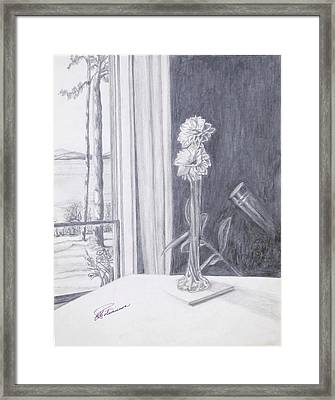 Framed Print featuring the drawing Star Gazing by Elly Potamianos
