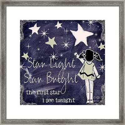 Star Light Star Bright Chalk Board Nursery Rhyme Framed Print by Mindy Sommers