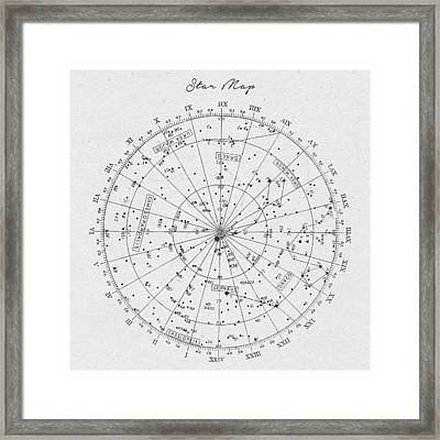 Star Map Framed Print by Taylan Apukovska