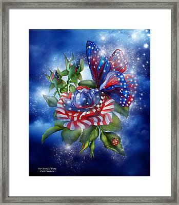 Star Spangled Butterfly Framed Print by Carol Cavalaris
