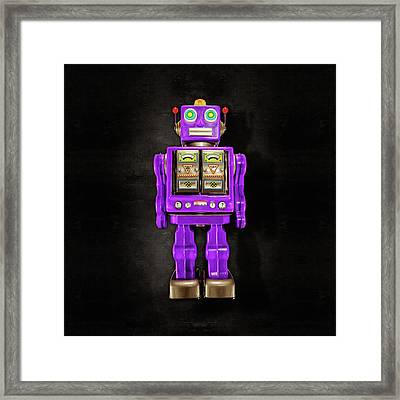 Framed Print featuring the photograph Star Strider Robot Purple On Black by YoPedro