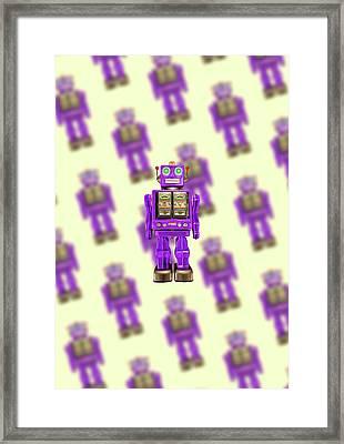 Star Strider Robot Purple Pattern Framed Print by YoPedro