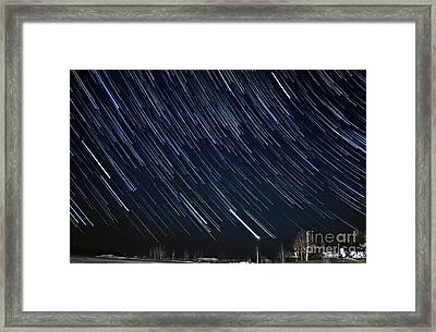 Star Trail Showers Framed Print by Charline Xia