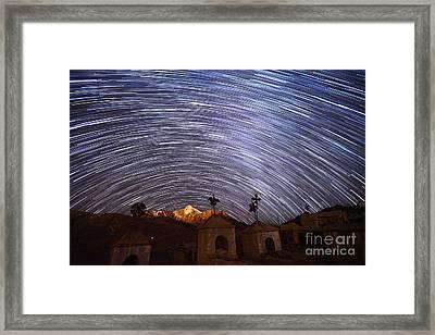 Star Trails Above Milluni Cemetery Bolivia Framed Print