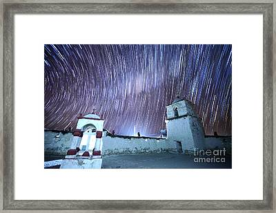 Star Trails Above Parinacota Village Church Chile Framed Print by James Brunker