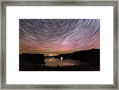 Framed Print featuring the photograph Star Trails And Aurora At Billy Chinook by Cat Connor