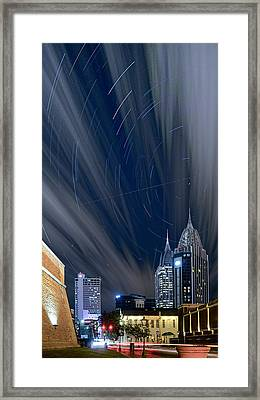 Star Trails And City Lights Framed Print
