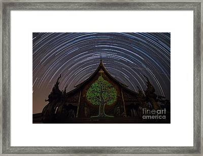Star Trails In The Night At Temple Framed Print by Tosporn Preede