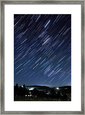 Star Trails Long Exposure At Night Framed Print by Evan Sharboneau