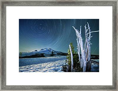 Star Trails Over Mt. Hood Framed Print