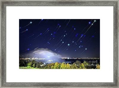 Framed Print featuring the photograph Star Trails Over Niagara River by Charline Xia