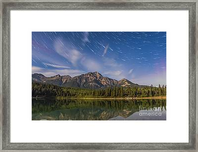 Star Trails Over Patricia Lake Framed Print by Alan Dyer