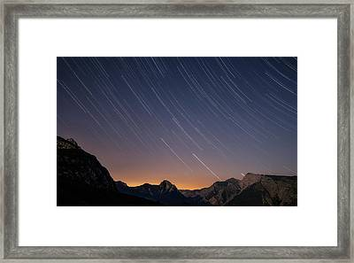 Star Trails Over The Apuan Alps Framed Print