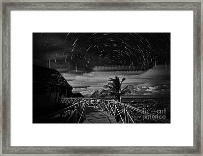 Star Trails Over Tropical Beach Framed Print by Charline Xia