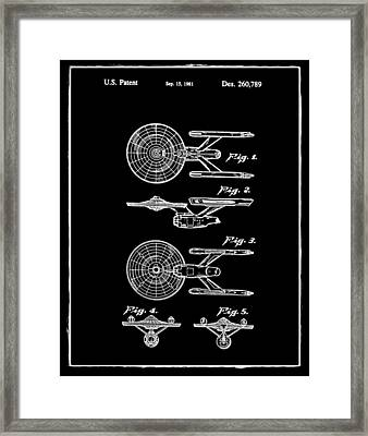 Star Trek Enterprise Patent Black Framed Print by Bill Cannon