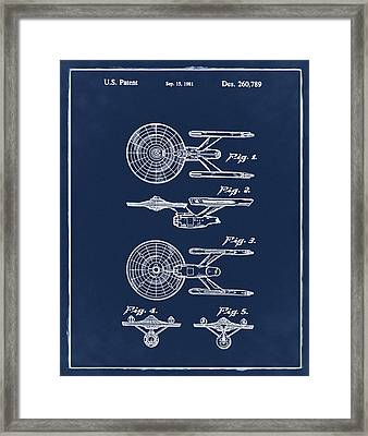 Star Trek Enterprise Patent Blue Framed Print by Bill Cannon