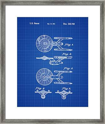 Star Trek Enterprise Patent Blue Print Framed Print by Bill Cannon