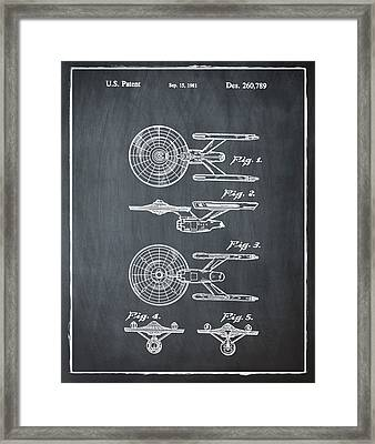 Star Trek Enterprise Patent Chalk Framed Print by Bill Cannon