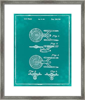 Star Trek Enterprise Patent Green Framed Print by Bill Cannon