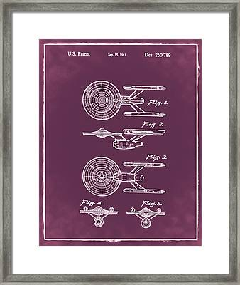 Star Trek Enterprise Patent Red Framed Print by Bill Cannon