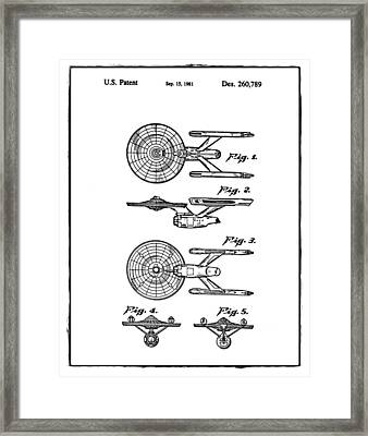 Star Trek Enterprise Patent White Framed Print by Bill Cannon
