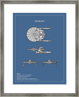 Star Trek - Uss Reliant Patent Framed Print by Mark Rogan