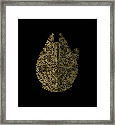Star Wars Art - Millennium Falcon - Black, Brown Framed Print