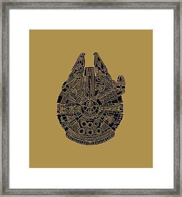 Star Wars Art - Millennium Falcon - Black Framed Print