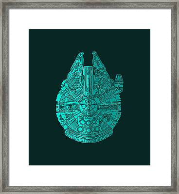 Star Wars Art - Millennium Falcon - Blue 02 Framed Print