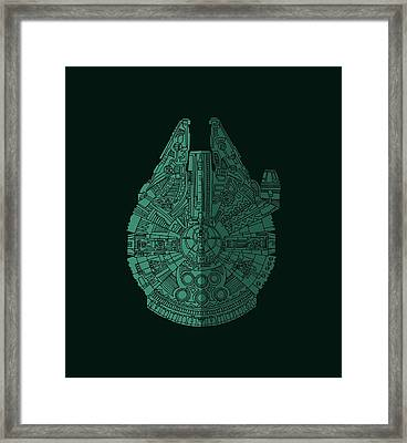 Star Wars Art - Millennium Falcon - Blue Green Framed Print