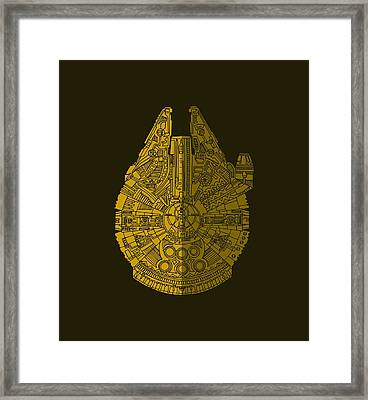 Star Wars Art - Millennium Falcon - Brown Framed Print