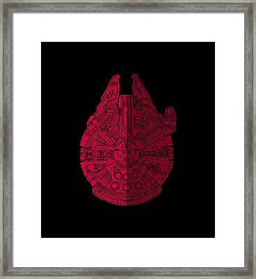 Star Wars Art - Millennium Falcon - Red, Black Framed Print