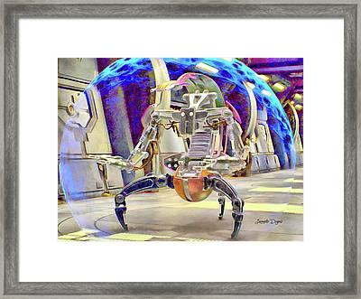 Star Wars Destroyer Droid - Aquarell Vivid Style Framed Print