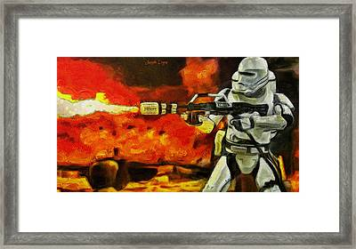 Star Wars First Order Flametrooper Firing - Da Framed Print