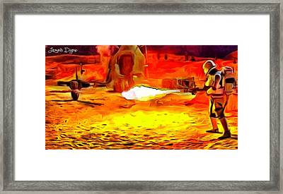 Star Wars Flame-trooper Framed Print by Leonardo Digenio