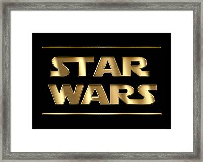 Star Wars Golden Typography On Black Framed Print
