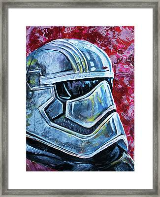 Framed Print featuring the painting Star Wars Helmet Series - Captain Phasma by Aaron Spong