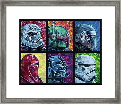 Framed Print featuring the painting Star Wars Helmet Series - Collage by Aaron Spong