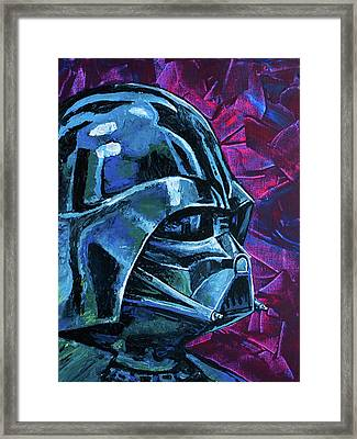 Framed Print featuring the painting Star Wars Helmet Series - Darth Vader by Aaron Spong