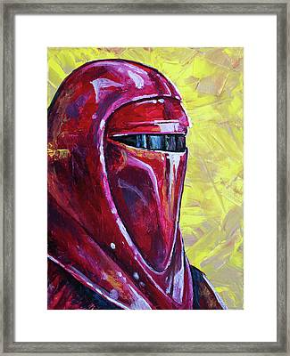 Framed Print featuring the painting Star Wars Helmet Series - Imperial Guard by Aaron Spong