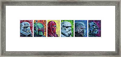 Framed Print featuring the painting Star Wars Helmet Series - Panorama by Aaron Spong